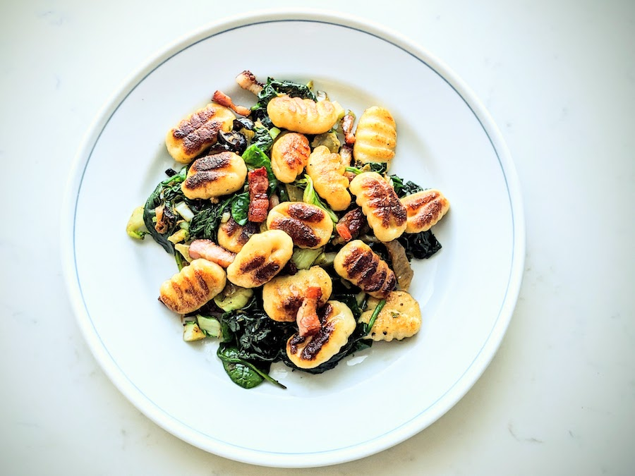 Gnocchi with Bacon and Sautéed Greens