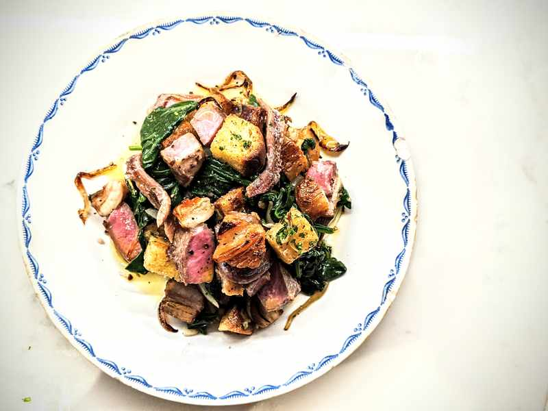 Lamb Chops with Spinach and Croutons Image