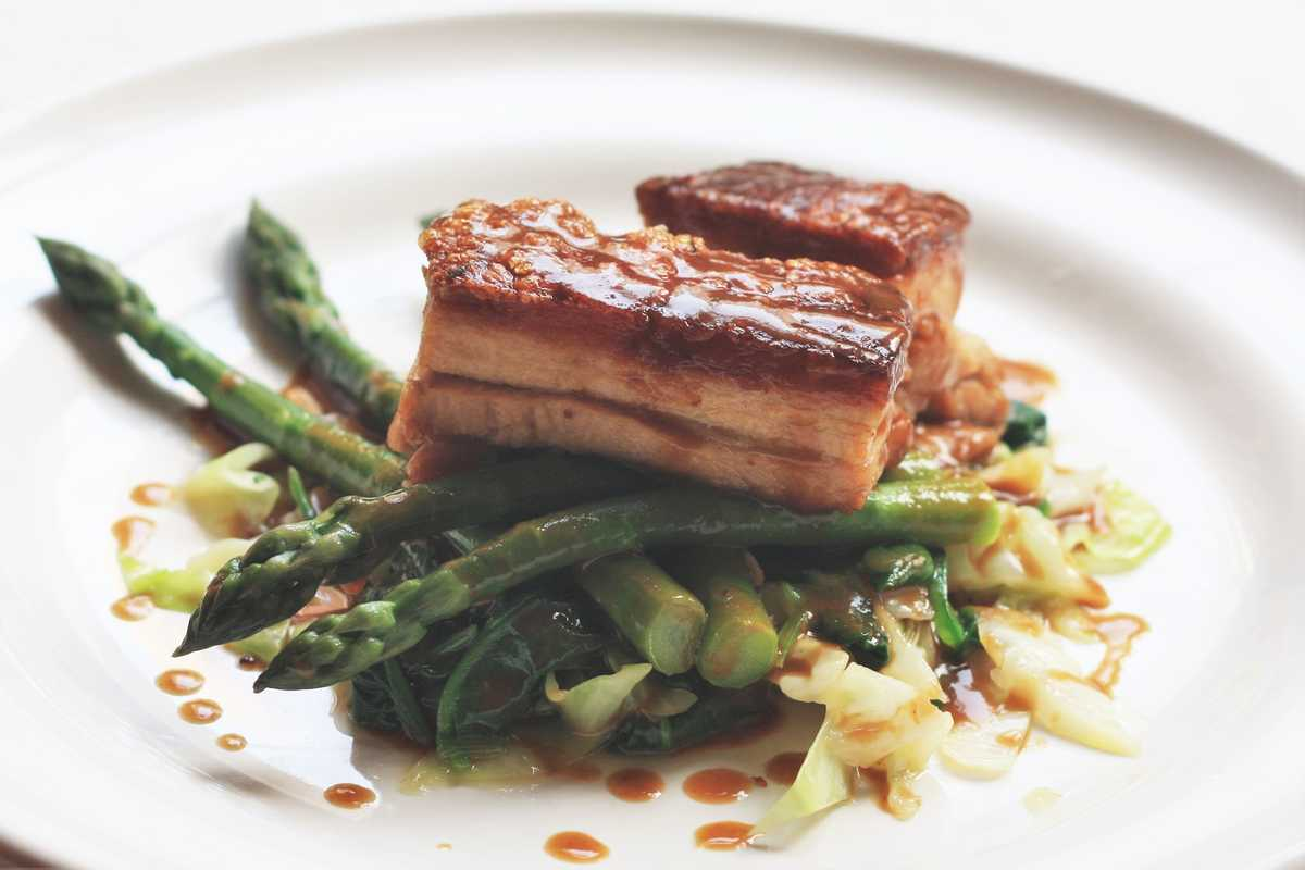 Pork Belly, Asparagus and Ale Sauce Image