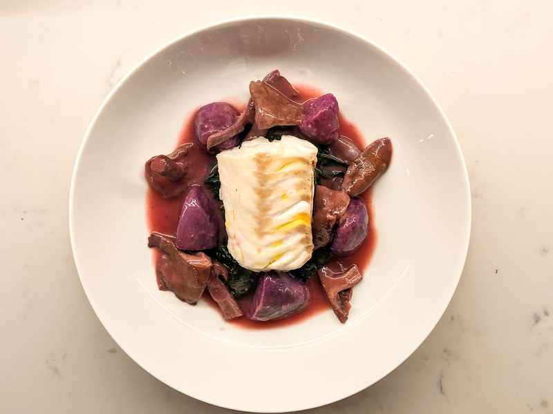 Wood Blewits, Purple Potatoes and Steamed Hake Image